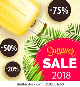 Twenty eighteen, summer sale, poster design with palm leaves, yellow travel bag and discount stickers. Text on pink circle can be used for coupons, signs, banners.