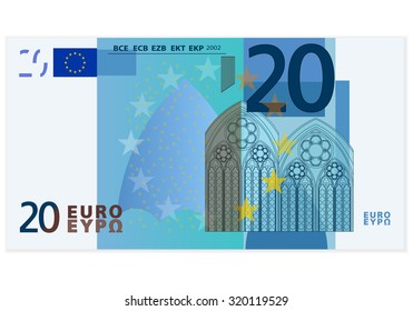 Twenty euro banknote on a white background.