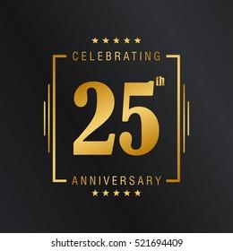 Twenty Five anniversary celebration logotype. 25 anniversary logo collection. Anniversary label. Anniversary logo template. Anniversary sign. Vector Illustration