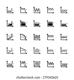 twenty five black outline market icons isolated on white