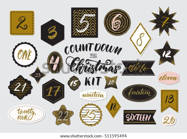 photograph regarding Christmas Countdown Printable referred to as 20 5 Xmas Countdown Printable Tags Inventory Vector