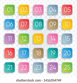 Twenty five colorful vector numbers rounded square design