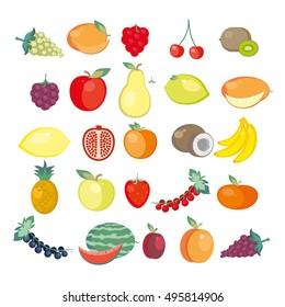 Twenty five icons of fresh fruits. Vector illustration.