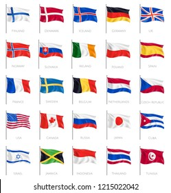 Twenty five isolated waving national flags on white background with inscription of countries names realistic vector illustration