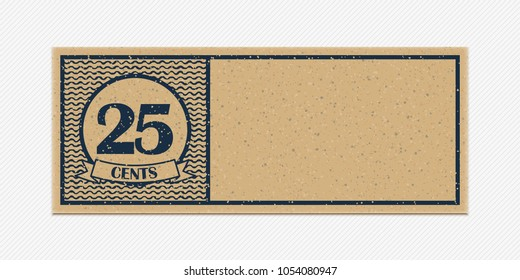 Twenty five merchandise coupon. High detail grunge paper or cardboard. Vintage coupon. Retro coupon template. Vector illustration. Old style free discount blank coupon. Realistic vector illustration.