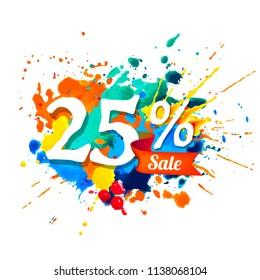 twenty five percents sale. Vector splash paint