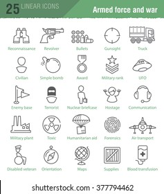 Twenty five vector linear icons for military infographics