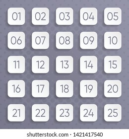 Twenty five white vector numbers rounded square design