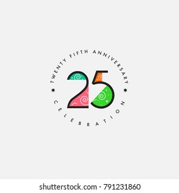 Twenty five years, 25th Anniversary Celebration Logo Design, Number 25 Icon Vector Template.
