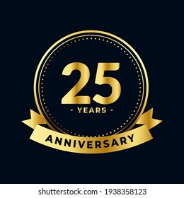 Twenty Five Years Anniversary Celebration Gold and Black Isolated Vector