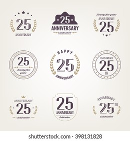 Twenty five years anniversary celebration logotype. Anniversary logo.