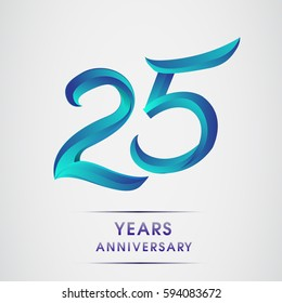 twenty five years anniversary celebration logotype blue colored isolated on white background. 25th birthday logo for invitation card, banner and greeting card
