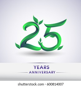 twenty five years anniversary celebration logotype with leaf and green colored. 25th birthday logo on white background.