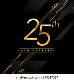 twenty five years anniversary celebration logotype. 25th anniversary logo golden colored isolated on black background, vector design for greeting card and invitation card.
