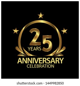 Twenty five years anniversary golden. anniversary template design for web, game ,Creative poster, booklet, leaflet, flyer, magazine, invitation card - Vector