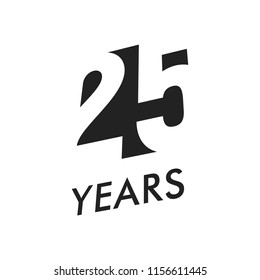 Twenty five years vector emblem template. Anniversary symbol, negative space design. Jubilee black color icon. Happy 25th birthday, abstract illustration.