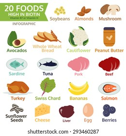 twenty Foods High in Biotin, vitamin B or vitamin H, vegetable, fruit, meat, vector illustration