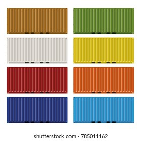 Twenty foot ISO cargo containers in eight colors vector illustration