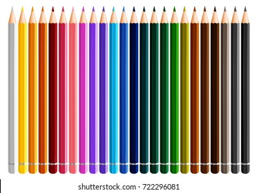 Twenty four color pencils on white background