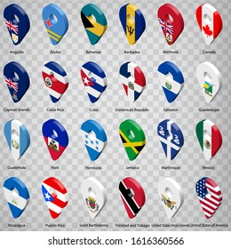 Twenty four Flags of American countries - alphabetical order with name.  Set of 3d geolocation signs like national flags of North and Central America. Twenty four 3d geolocation signs. EPS10.