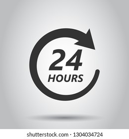 Twenty four hour clock icon in flat style. 24/7 service time illustration on white background. Around the clock sign concept.