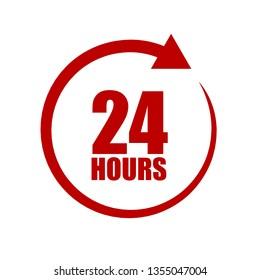 twenty four hour icon with arrow on white background