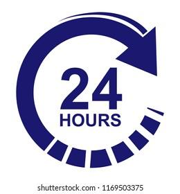 Twenty four hour icon. Vector.