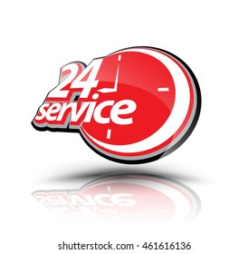 Twenty four hour service symbol. Vector illustration. Can use for service advertising.