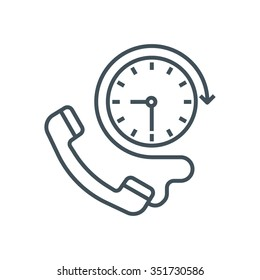 Twenty four hours available icon suitable for info graphics, websites and print media and  interfaces. Line vector icon.