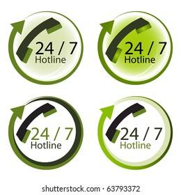 Twenty four hours by seven days hot line service concept.