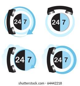 Twenty four hours by seven days hotline service concept.