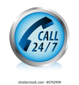 Twenty four hours by seven days phone hotline service button.