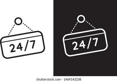 twenty four hours seven days icon vector design black and white
