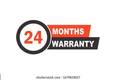 Twenty four months warranty label, vector emblem