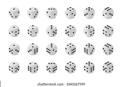 Twenty four realistic isometric game dice with rounded edge and correct numbering isolated on white background, icons set of all possible variants, photo realism vector illustration