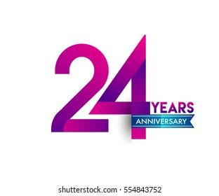 twenty four years anniversary celebration logotype colorfull design with blue ribbon, 24th birthday logo on white background