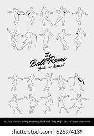 Twenty Jazz Dancers Outlines. Swing, Broadway, Rock and Lindy Hop