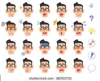 Twenty kinds of men of expression multiplied by the glasses