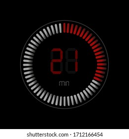 The twenty minute , stopwatch vector icon. Clock and watch, timer, countdown symbol.