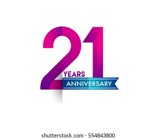twenty one years anniversary celebration logotype colorfull design with blue ribbon, 21st birthday logo on white background