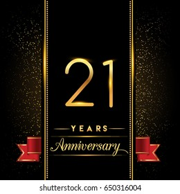 twenty one years anniversary celebration logotype. 21st anniversary logo with confetti golden colored and red ribbon isolated on black background, vector design for greeting card and invitation card