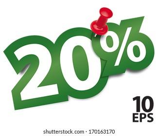 Twenty percent sticker fixed by a thumbtack. Vector illustration