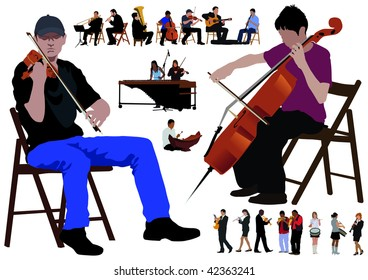 Twenty performing musicians. Separated poses over white background. Color vector illustration.