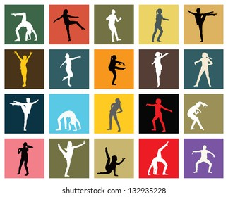 Twenty silhouettes of young girl professionally dancing jazz.