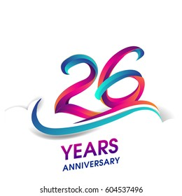 twenty six years anniversary celebration logotype blue and red colored. 26th birthday logo on white background.