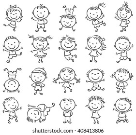 Twenty sketchy happy kids jumping with joy, black and white outline