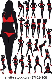 twenty three silhouette  erotic girl in red bathing suit