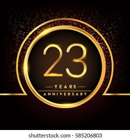 twenty three years birthday celebration logotype. 23rd anniversary logo with confetti and golden ring isolated on black background, vector design for greeting card and invitation card.