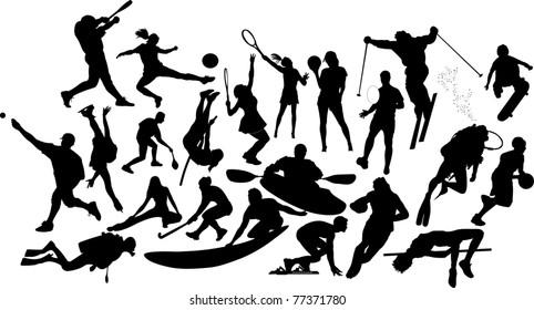 Twenty two sports silhouettes