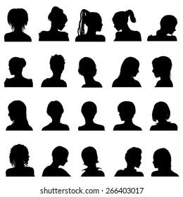 Twenty vector anonymous avatar, female userpics, set isolated on white
